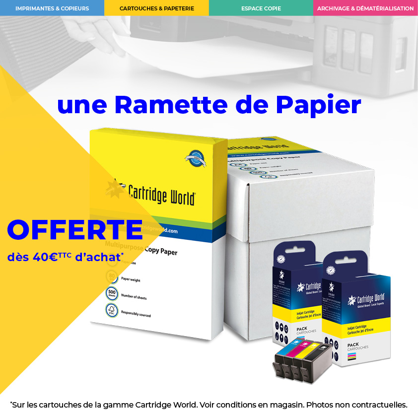 une ramette de papier offerte - Cartridge World Fougères